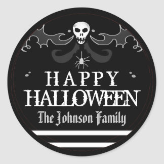 Halloween Black White Skull Label Happy Halloween Round Sticker