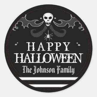 Halloween Black White Skull Label Happy Halloween Round Sticker
