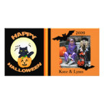 Halloween /black Witch Cat Custom Photo Card