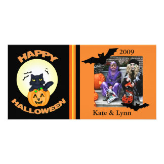 Halloween /black Witch Cat Custom Photo Card