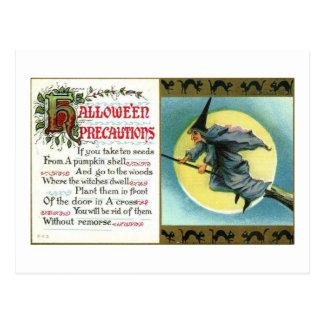 Halloween Black Witch Precautions Vintage Postcard