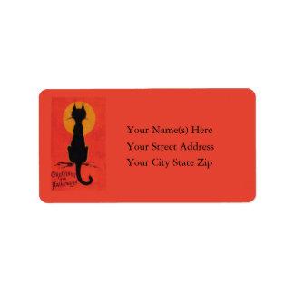 Halloween Blackest of Cats Vintage Address Label