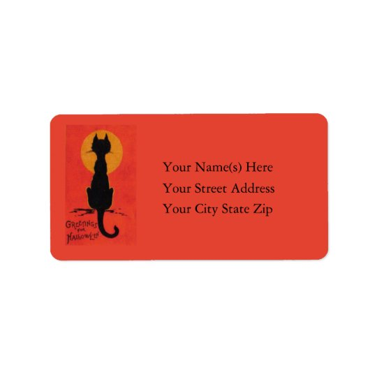Halloween Blackest of Cats Vintage Address Label