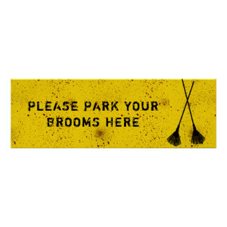 Halloween Blood Splattered Broom Parking Poster