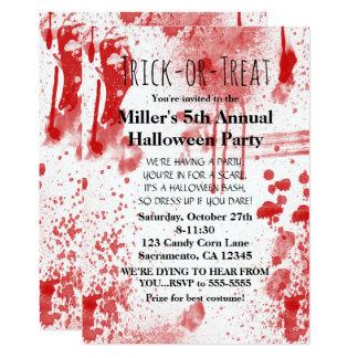 Halloween Blood Splatters Costume Party Invitation