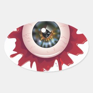 Halloween Bloody Eyeball3 Oval Sticker
