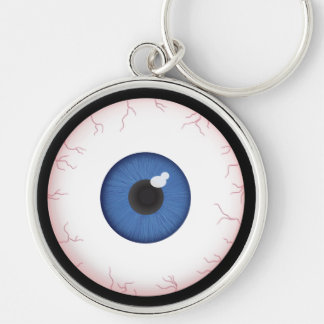 Halloween Blue Eyeball Silver-Colored Round Key Ring