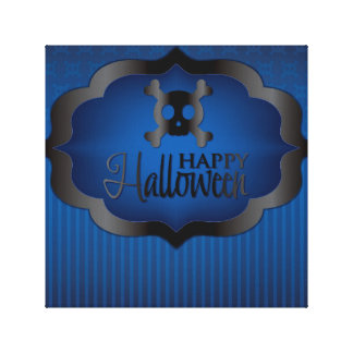 Halloween blue skull canvas print