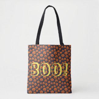 Halloween BOO! Pumpkin Pattern Jack O Lantern Tote Bag