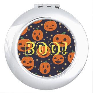 Halloween BOO! Pumpkin Pattern Jack O Lantern Vanity Mirror