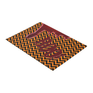 Halloween Boo Scary Bloody Orange Black Chevrons Doormat