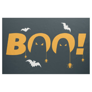 "Halloween ""boo"" with bats spiders fabric"