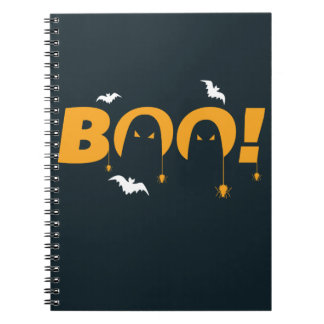 """Halloween """"boo"""" with bats spiders notebooks"""
