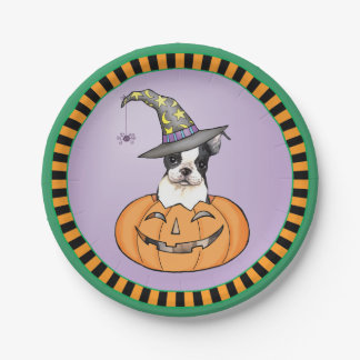 Halloween Boston Terrier Paper Plate
