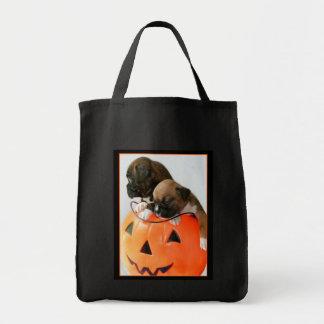 Halloween Boxer puppies tote bag