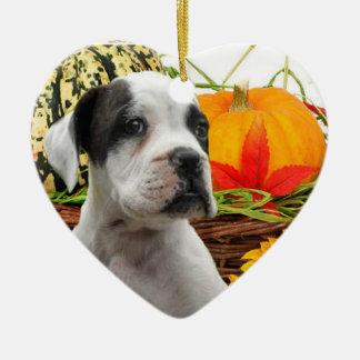 Halloween boxer puppy ceramic heart decoration