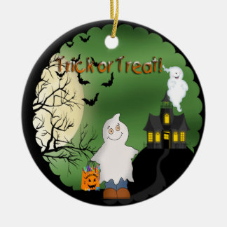 Halloween Boy Ghost Round Ornament