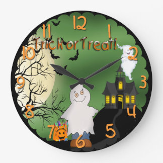 Halloween Boy Ghost Round Wall Clock