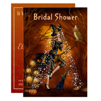 Halloween Bridal Shower Invitation with Witch