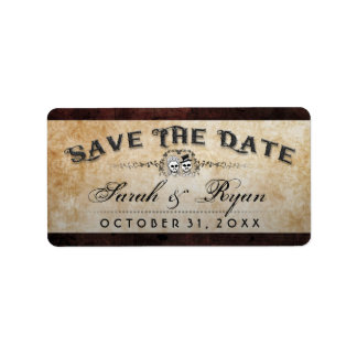 Halloween Brown Gothic Skeleton Matching Save Date Label