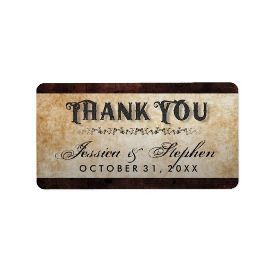 Halloween Brown Gothic Skeletons Wedding Thank You Label