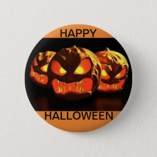 Halloween Button with three scary Jack O Lanterns