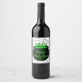 Halloween Caldron Witches Brew Cobweb Wine Label