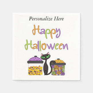 Halloween Candy Black Cat Paper Napkins