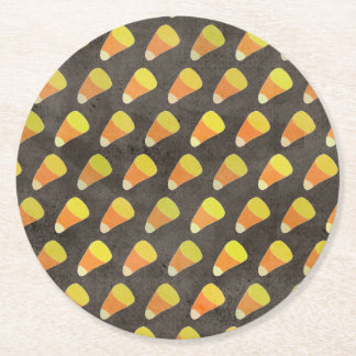 Halloween Candy Corn Pattern Round Paper Coaster