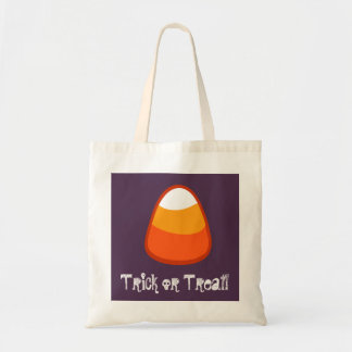 Halloween Candy Corn Trick or Treat Gift Purple Budget Tote Bag