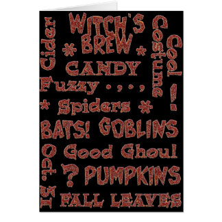 Halloween Candy Costume Oct 31 Orange and Black Greeting Card