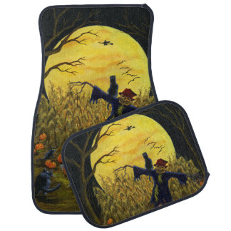 Halloween car mats with scarecrow and black cats