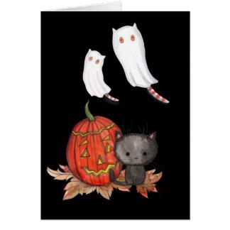 Halloween Card Black Cat Ghost Cats Cute!