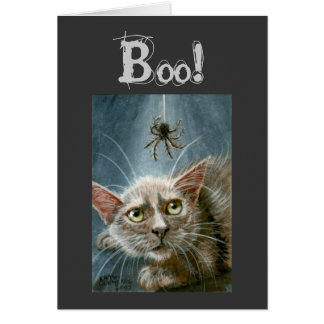 Halloween Card, Cat and Spider, Boo!