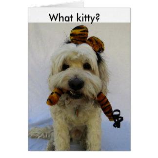 halloween card, humor, dog eats cat, guilty dog, card