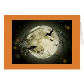 Halloween Card illustrating a full moon, and bats