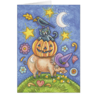 Halloween Card, Pig, Black Cat, Pumpkin, Crow Card