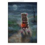 Halloween card Rat Pumpkin basket full moon fog
