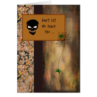 Halloween Card with a Skeleton and Spiders