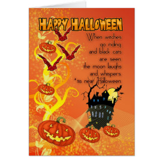 halloween card with bats and pumpkins