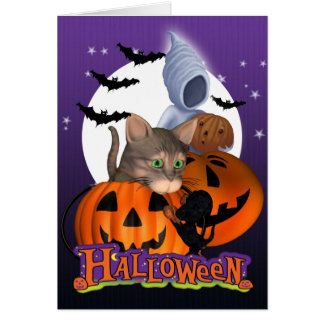 Halloween Card with cute little Cat and Puppy