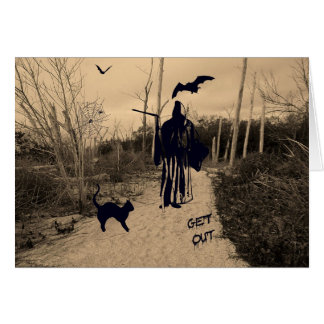 Halloween Card with Grim Reaper in Sepia