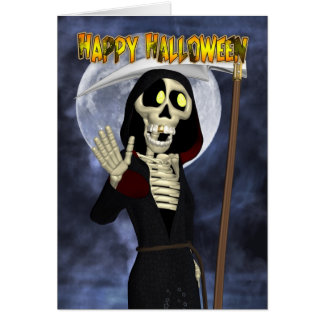 Halloween Card With Happy Grim Reaper