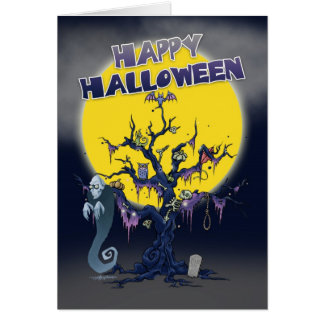 halloween card with spooky tree and ghoul