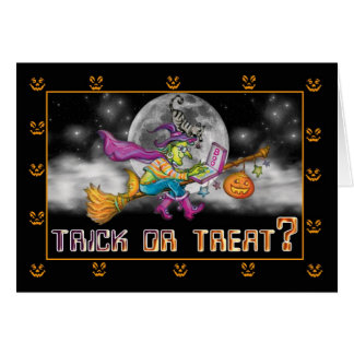 Halloween card with witch on broom with computer