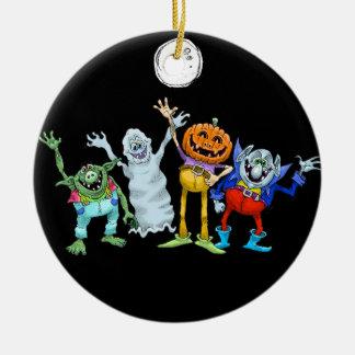 Halloween cartoon creatures waving, decoration. ceramic ornament