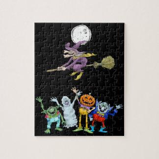 Halloween cartoon creatures waving, puzzle. jigsaw puzzle