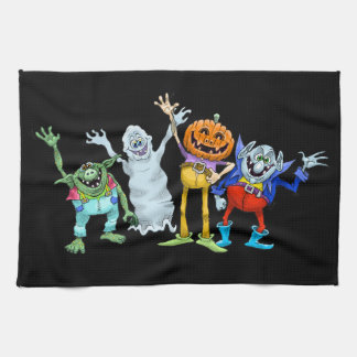 Halloween cartoon creatures waving, tea towel. tea towel
