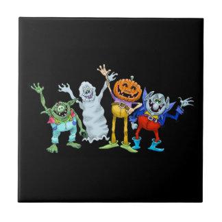 Halloween cartoon creatures waving tile