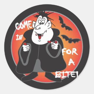Halloween Cartoon Dracula Round Sticker